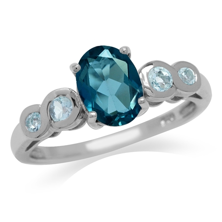 1.46ct. Genuine London Blue Topaz White Gold Plated 925 Sterling Silver Engagement Ring
