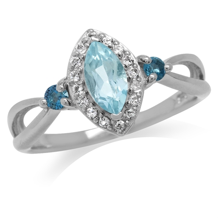 Genuine Sky Blue & London Blue Topaz White Gold Plated 925 Sterling Silver Promise Ring