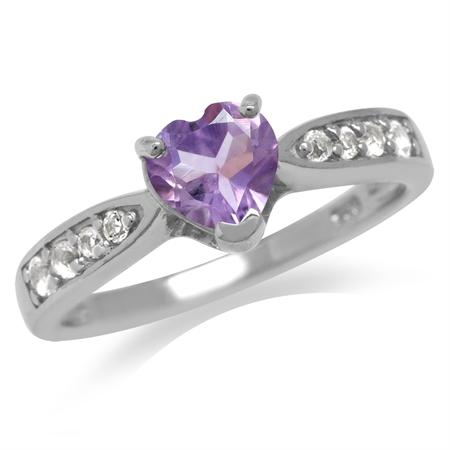 Natural Heart Shape Amethyst White Gold Plated 925 Sterling Silver Classic Engagement Ring