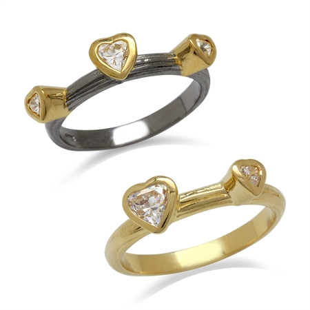 Heart Shape Swarovski Zirconia 14K Gold Plated 925 Sterling Silver 2-Pc Set Stack/Stackable Rings