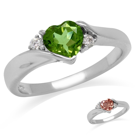 Heart Shape Synthetic Color Change Diaspore White Gold Plated 925 Sterling Silver Engagement Ring