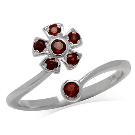 Natural Garnet White Gold Plated 925 Sterling Silver Flower Adjustable Ring