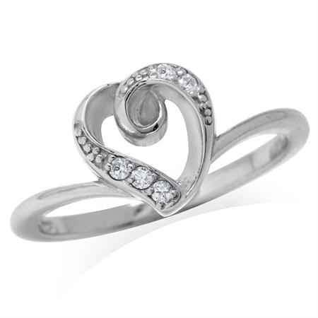 CZ White Gold Plated 925 Sterling Silver Heart Casual Love Ring