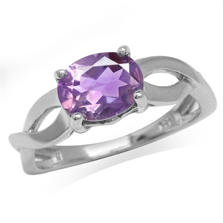 1.69ct. Natural Amethyst White Gold Plated 925 Sterling Silver Solitaire Ring