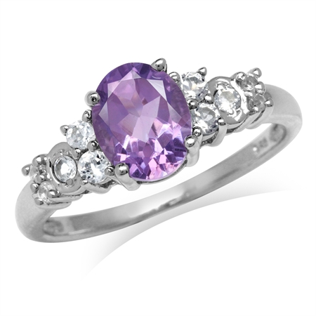 1.69ct. Natural Amethyst & White Topaz Gold Plated 925 Sterling Silver Engagement Ring