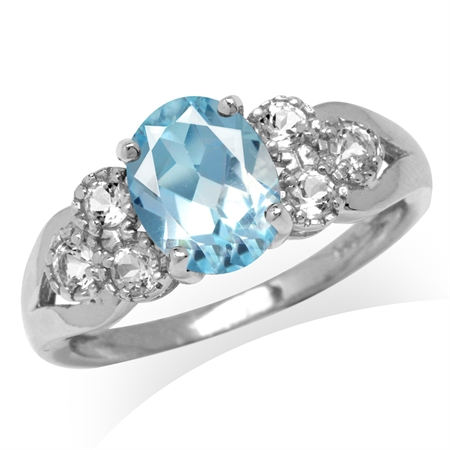 2.17ct. Genuine Blue Topaz White Gold Plated 925 Sterling Silver Engagement Ring