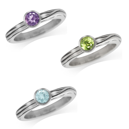Natural Amethyst, Peridot & Blue Topaz 925 Sterling Silver 3-Pc Stack/Stackable Textured Band Ring