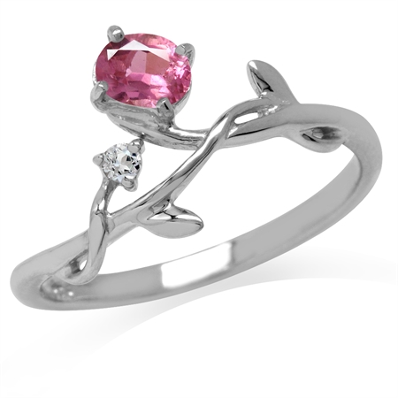 Natural Pink Tourmaline White Gold Plated 925 Sterling Silver Vine Leaf Ring