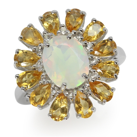 Genuine Opal & Citrine White Gold Plated 925 Sterling Silver Cluster Cocktail Ring