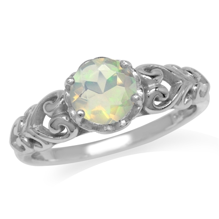Genuine Opal White Gold Plated 925 Sterling Silver Victorian Style Solitaire Ring