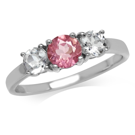 Petite Natural Pink Tourmaline & White Topaz Gold Plated 925 Sterling Silver Ring
