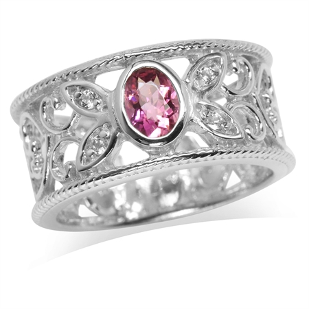 Natural Tourmaline & White Topaz Gold Plated 925 Sterling Silver Filigree Band Ring
