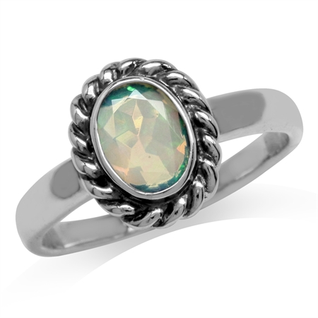 Genuine Opal 925 Sterling Silver Rope Pattern Solitaire Ring