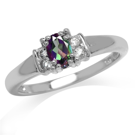 Mystic Fire Topaz White Gold Plated 925 Sterling Silver Engagement Ring