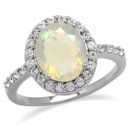 Genuine Opal & White Topaz Gold Plated 925 Sterling Silver Glamorous Ring