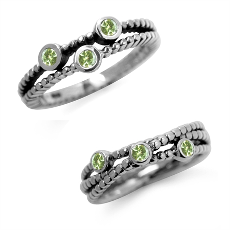 3-Stone Natural Peridot 925 Sterling Silver 2-Pc Set Stack/Stackable Ring