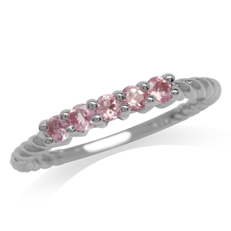 Petite 5-Stone Natural Pink Tourmaline White Gold Plated 925 Sterling Silver Rope Ring