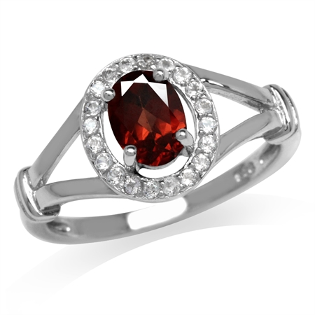 1.05ct. Natural Garnet & White Topaz Gold Plated 925 Sterling Silver Engagement Ring