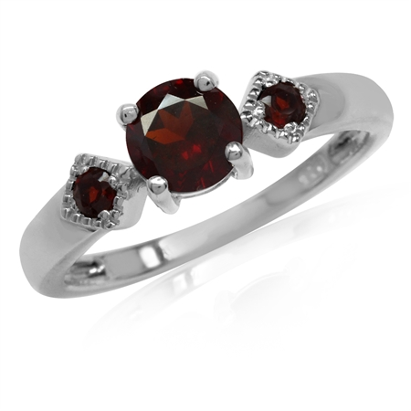 1.14ct. 3-Stone Natural Garnet White Gold Plated 925 Sterling Silver Ring