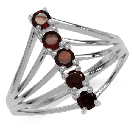 5-Stone Natural Garnet White Gold Plated 925 Sterling Silver Wide Front Ring