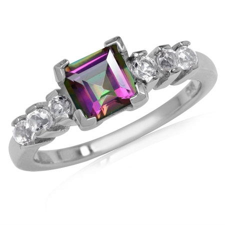 1.26ct. 6MM Square Shape Mystic Fire Topaz White Gold Plated 925 Sterling Silver Engagement Ring