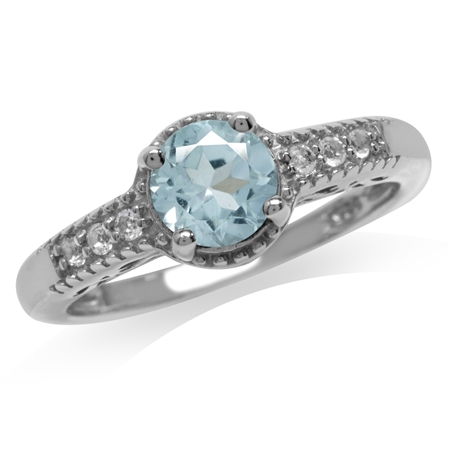 1ct. Genuine Blue Topaz White Gold Plated 925 Sterling Silver Engagement Ring
