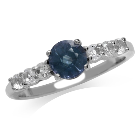 Color Change Alexandrite Doublet & White Topaz Gold Plated 925 Sterling Silver Engagement Ring