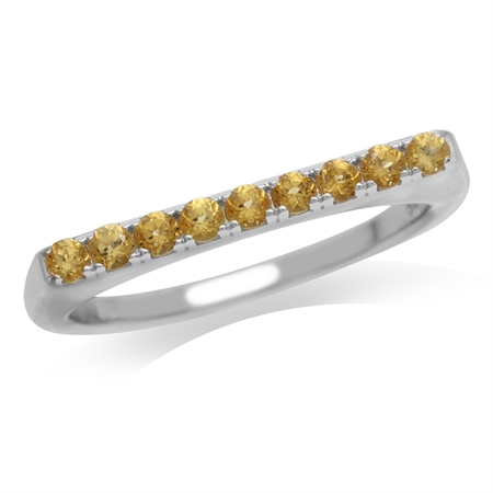 Petite Natural Citrine White Gold Plated 925 Sterling Silver Journey Ring