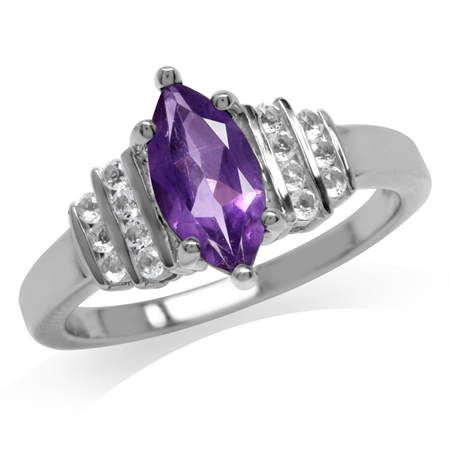 Natural African Amethyst & White Topaz Gold Plated 925 Sterling Silver Engagement Ring