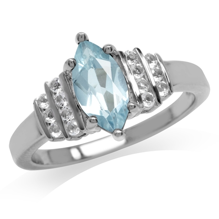 1.21ct. Genuine Blue Topaz White Gold Plated 925 Sterling Silver Engagement Ring