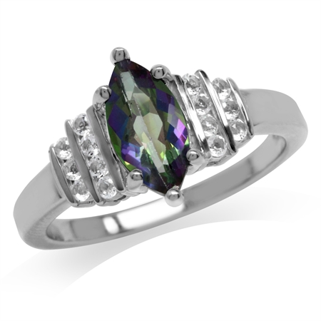 1.25ct. Mystic Fire Topaz White Gold Plated 925 Sterling Silver Engagement Ring