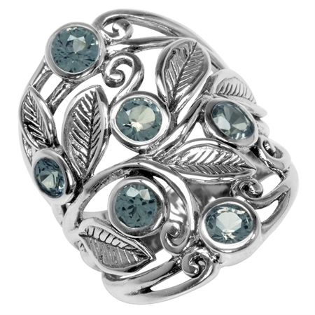 Simulated Color Change Alexandrite 925 Sterling Silver Filigree Leaf Ring