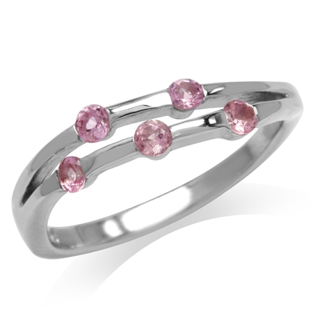 5-Stone Natural Pink Tourmaline White Gold Plated 925 Sterling Silver Modern Ring