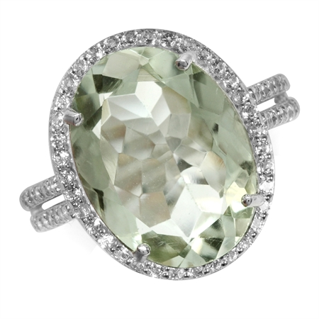 HUGE 6.8ct. 16x12MM Natural Oval Shape Green Amethyst & White Topaz 925 Sterling Silver Ring