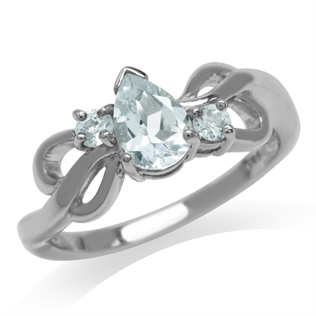 Genuine Aquamarine White Gold Plated 925 Sterling Silver Ribbon Ring