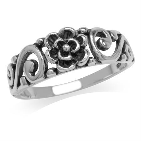 925 Sterling Silver Rose Flower Vintage Filigree Style Ring