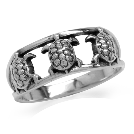 Oxidized Finish 925 Sterling Silver Triple Turtle/Sealife Ring