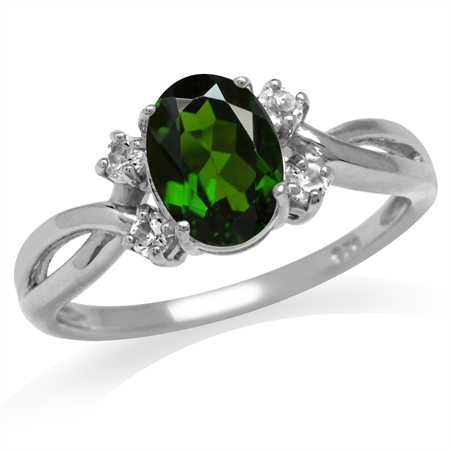 1.31ct. Green Chrome Diopside & White Topaz Gold Plated 925 Sterling Silver Engagement Ring