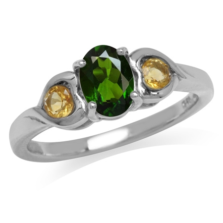 Green Chrome Diopside & Citrine White Gold Plated 925 Sterling Silver Engagement Heart Ring