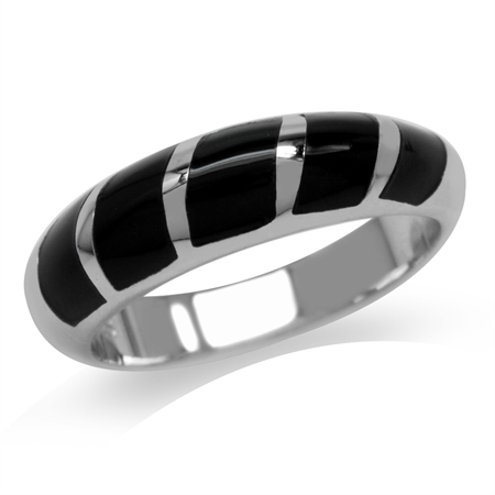 5-Stone Created Black Onyx Inlay White Gold Plated 925 Sterling Silver Ring