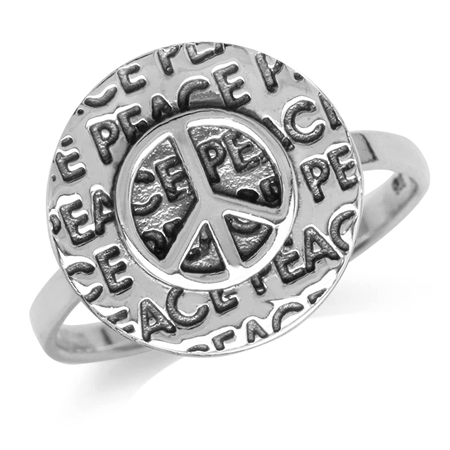 Oxidized Finish 925 Sterling Silver Peace Sign Ring