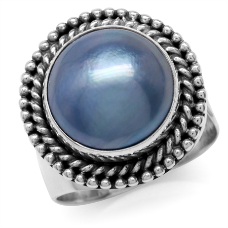 Cultured Mabe Pearl 925 Sterling Silver Bali/Balinese Style Adjustable Ring