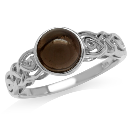 Smoky Quartz White Gold Plated 925 Sterling Silver Celtic Knot Solitaire Ring
