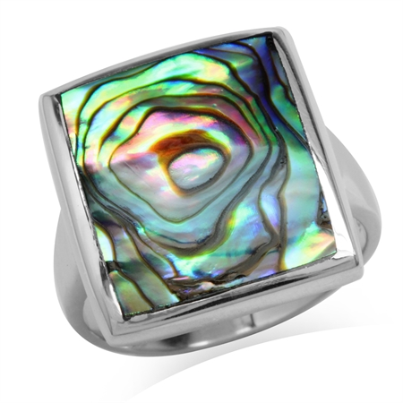 Abalone/Paua Shell White Gold Plated 925 Sterling Silver Modern Ring