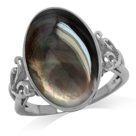 Black Mother Of Pearl White Gold Plated 925 Sterling Silver Victorian Style Heart Knot Ring