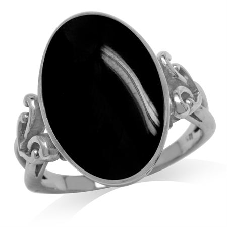 Oval Shape Created Black Onyx Inlay 925 Sterling Silver Victorian Style Heart Knot Ring