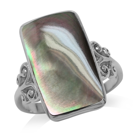 Black Mother Of Pearl Inlay White Gold Plated 925 Sterling Silver Swirl & Spiral Ring