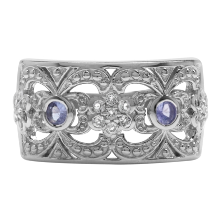 Genuine Tanzanite & White Topaz Gold Plated 925 Sterling Silver Victorian Style Filigree Ring