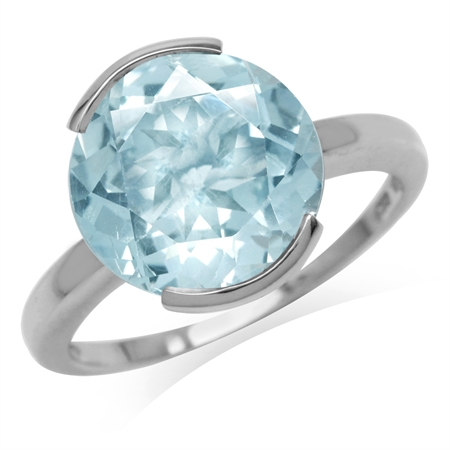 7.51ct. 12MM Genuine Round Shape Blue Topaz White Gold Plated 925 Sterling Silver Solitaire Ring