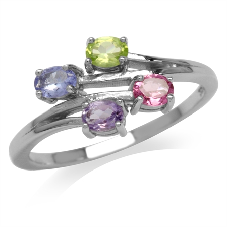 Natural Peridot, Tanzanite, Tourmaline & Amethyst White Gold Plated 925 Sterling Silver Bypass Ring